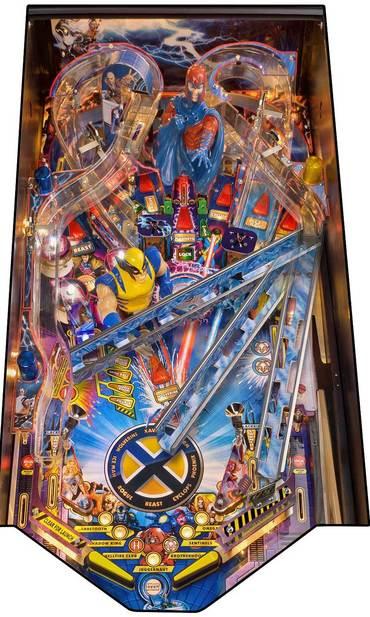 Spielfeld vom X-Men LE mit Veranschaulichung der beweglichen rechten Rampe