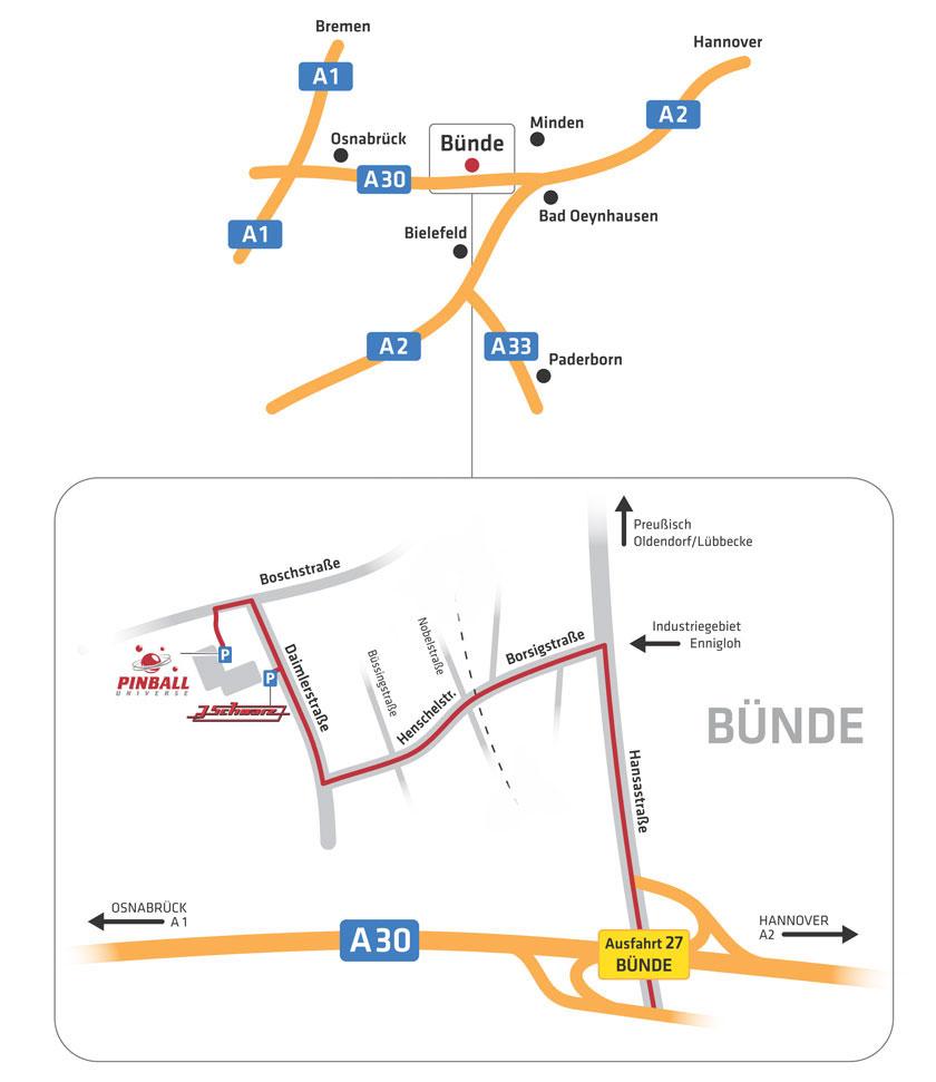PINBALL UNIVERSE: Zufahrt zum Parkplatz über Boschstraße
