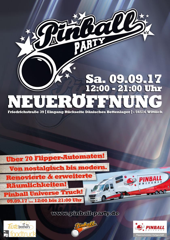 Plakat Neueröffnung bei Pinball Party e.V. in Wittlich