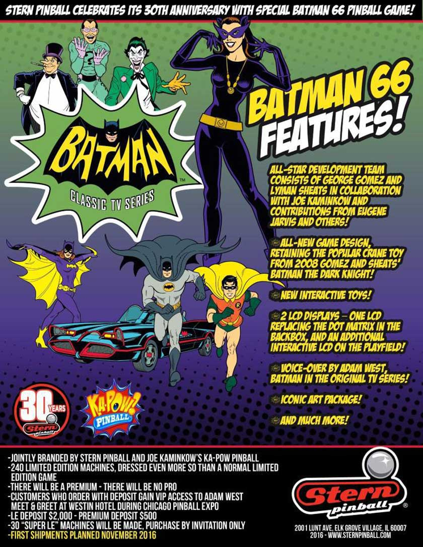 Coming soon: Batman 66 von Stern Pinball