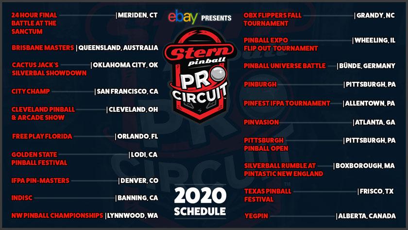 Stern Pro Circuit 2020 Schedule